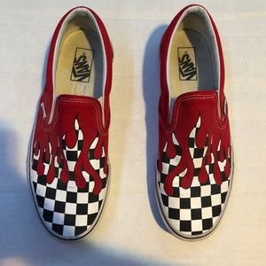 Red checkered drip vans